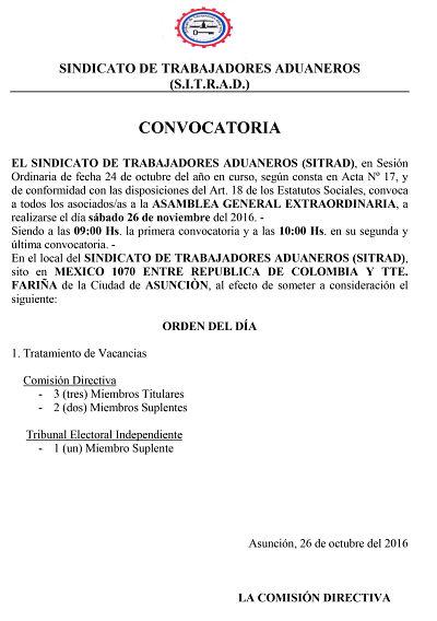 Convocatoria ASAMBLEA EXTRAORDINARIA comision